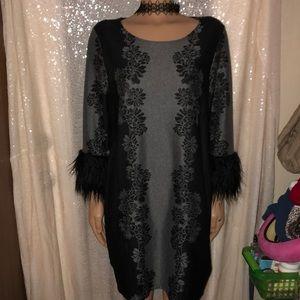 Valerie Stevens Sweater Dress XL gray blk